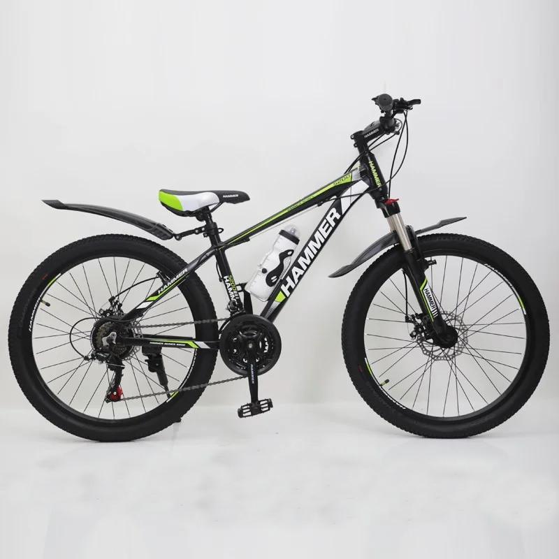 """Підлітковий гірський велосипед Hammer S200 R24"""" 14"""" алюмінієвий з дисковими гальмами (Чорно-салатовий)"""