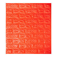 Декоративная 3D панель самоклейка под кирпич Оранжевый 700x770x7мм, фото 1