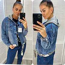 Женская джинсовка с капюшоном 3939 (АХ), фото 2