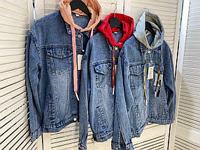 Женская джинсовка с капюшоном 3939 (АХ), фото 3