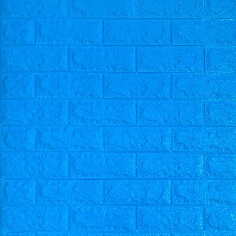 Декоративна 3D панель самоклейка під цеглу Синій 700х770х7мм