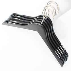 Плечики вешалки тремпеля деревянные для одежды с прорезиненной вставкой черные в гардероб, 38 см
