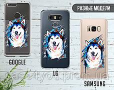 Силиконовый чехол Красочный хаски (Colorful husky) для Samsung J600 Galaxy J6 (2018) , фото 3