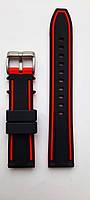 Ремешок каучуковый 20 мм для часов черный с красным
