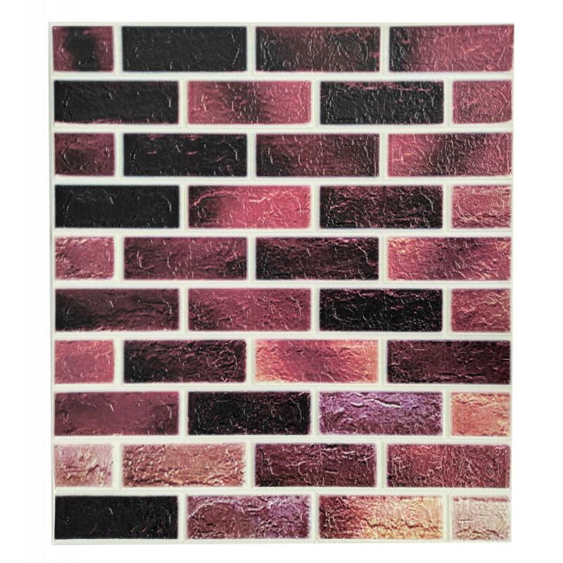 Самоклеюча декоративна 3D панель під цеглу рожевий мікс 700х770х4мм