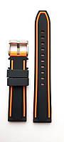 Ремешок каучуковый 20 мм для часов черный с оранжевым