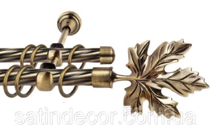 Карниз для штор металлический ЛИСТ КЛЕНА двойной 16+16 мм Крученая 3.0м Античное золото