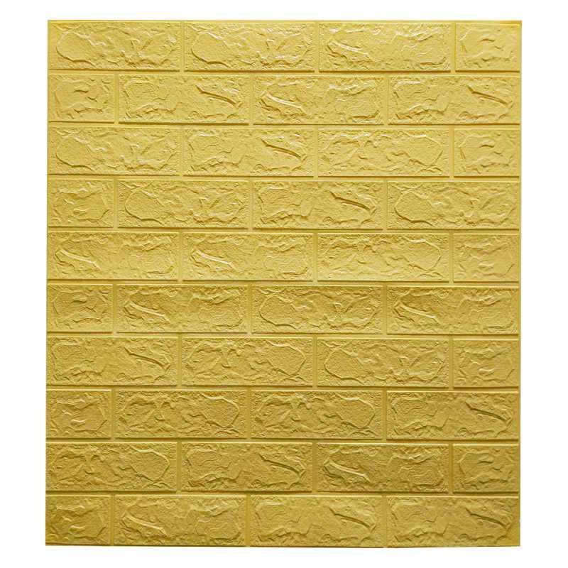 Самоклеящаяся декоративная 3D панель желто-песочный кирпич 700x770x3мм