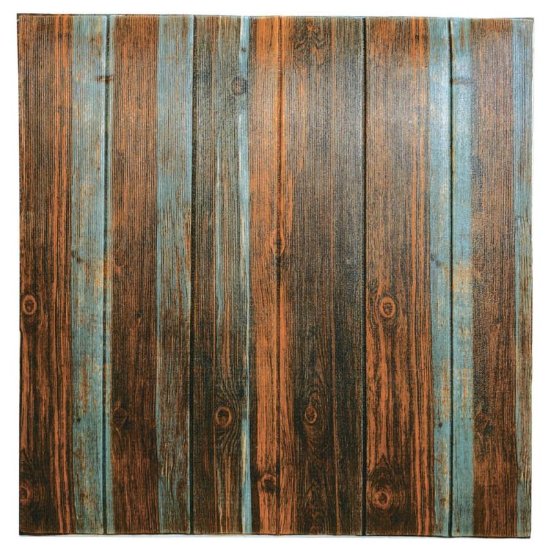 Самоклеюча декоративна 3D панель сіро-коричневе дерево 700x700x6,5мм