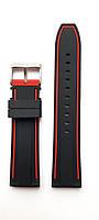 Ремешок каучуковый 22 мм для часов черный с красным