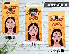 Силиконовый чехол Милая девушка Диджитал Арт (Sweet girl Digital art) для Samsung J600 Galaxy J6 (2018) , фото 3