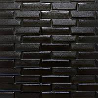 Самоклеюча декоративна 3D панель камінь чорний 700х770х7мм, фото 1