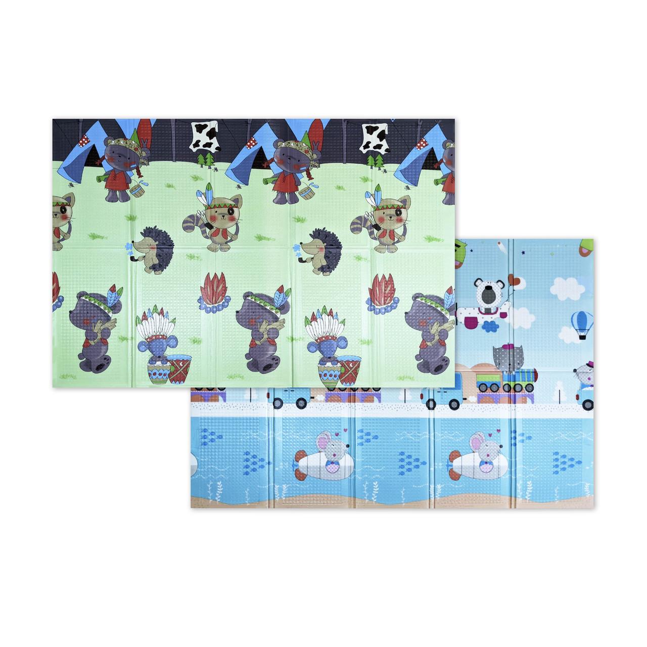 """Розвиваючий килимок дитячий термо """"Подорож+ Поляна"""" 180*200*10 мм 120*180*1"""