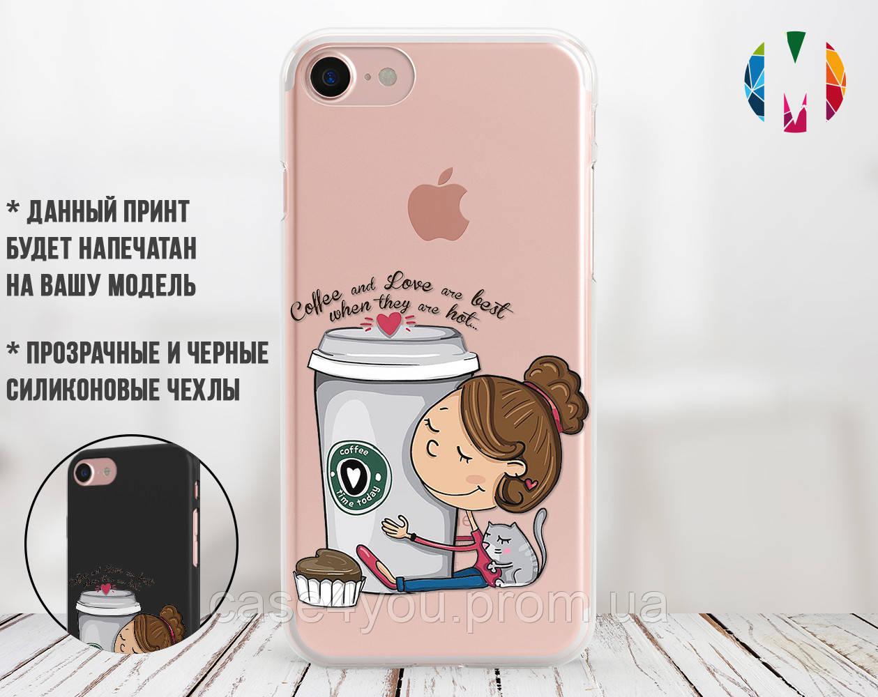 Силиконовый чехол Девочка с кофе (Girl with coffee) для Samsung A750 Galaxy A7 (2018)
