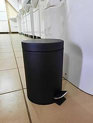Ведро мусорное с педалью круглое нержавеющая сталь 3 л (цвет - черный) Польша