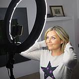 Кільцева світлодіодна LED лампа 45 см з пультом і чохлом Набір для блогера 2 в 1 Селфі кільце з штативом 2м, фото 9