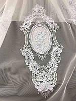 Елегантний  тюль з фатину з вишивкою білого кольору на метраж , висота 2.8 м(12013), фото 2
