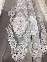 Елегантний  тюль з фатину з вишивкою білого кольору на метраж , висота 2.8 м(12013), фото 3