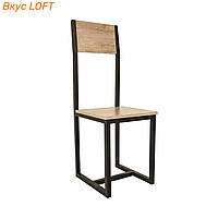 Стул обеденный лофт 35х40х101 см Шмидт Дуб античный, ДСП/металл. Кухонный стул высота посадки 47 см, бежевый