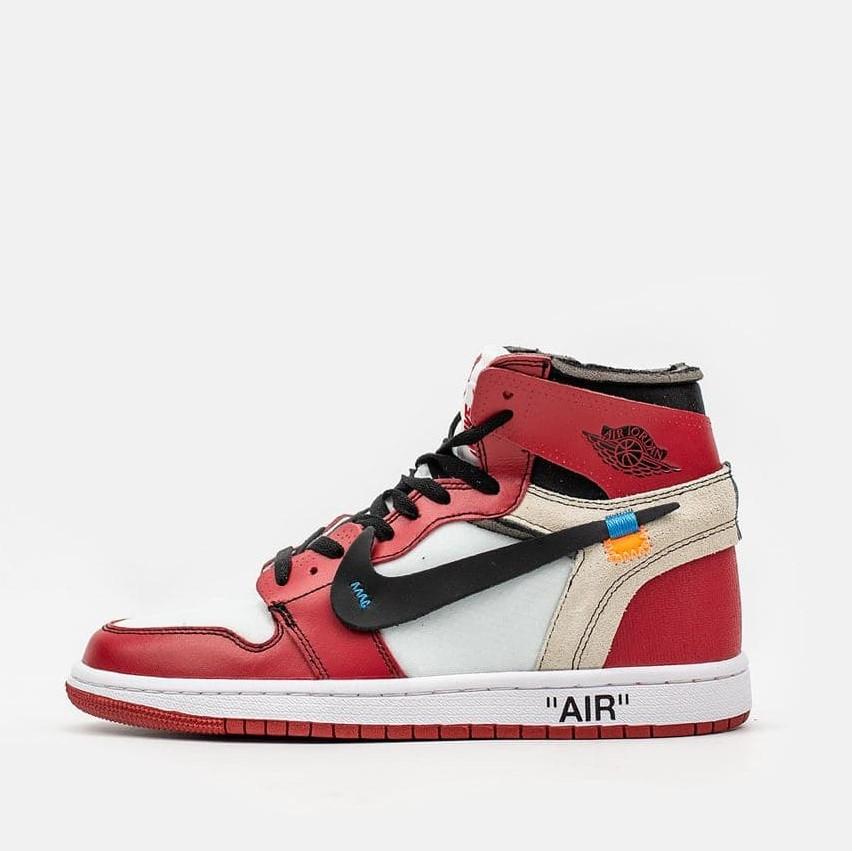 """Кроссовки Nike Air Jordan 1 Retro High Off-White Chicago """"Red"""" (Красные)"""