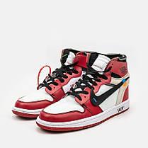 "Кроссовки Nike Air Jordan 1 Retro High Off-White Chicago ""Red"" (Красные), фото 2"
