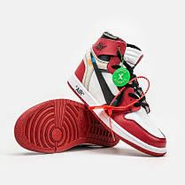 "Кроссовки Nike Air Jordan 1 Retro High Off-White Chicago ""Red"" (Красные), фото 3"