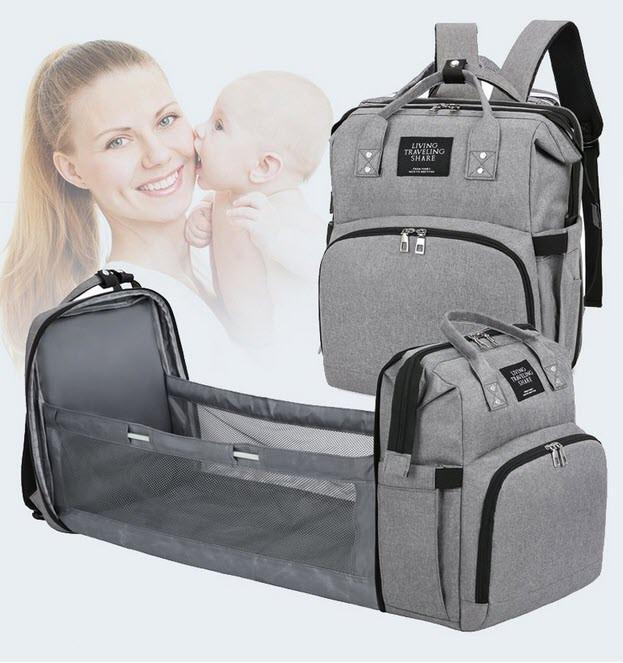 Оригінальний сумка-рюкзак для мам з термокарманами і манежом