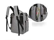 Оригінальний сумка-рюкзак для мам з термокарманами і манежом, фото 3