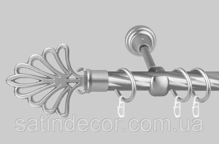 Карниз для штор металевий МОДЕРН однорядний 19мм Кручена 2.4 м Сатин нікель