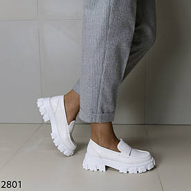 Лоферы женские белые 2801