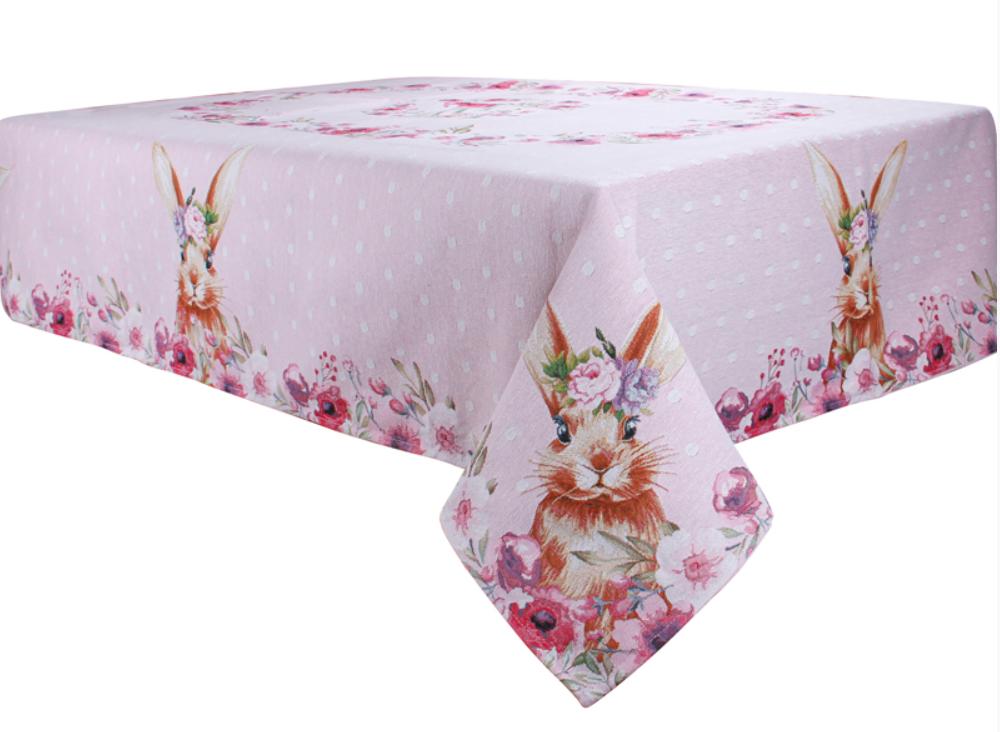 """Скатерть праздничная гобеленовая розовая """"Пасхальный заяц"""" ТМ Lеfard, размер 140х260 см"""