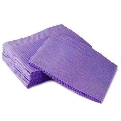 Нагрудники стоматологические трехслойные текстурированные салфетки Violet, 10шт., фото 2