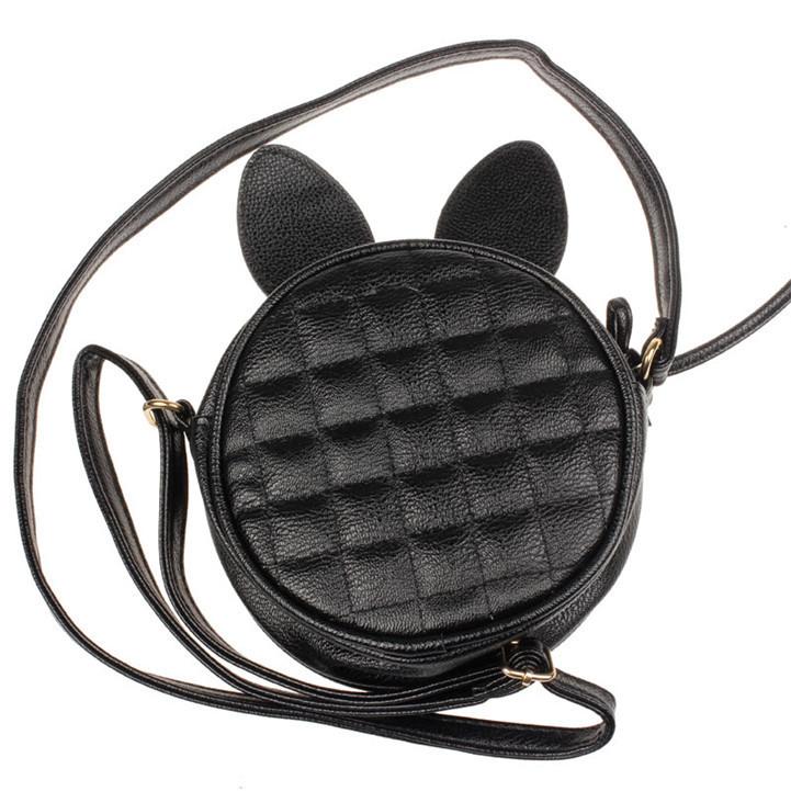 Сумка через плече с ушками стеганная черная Celine