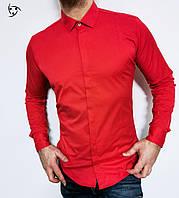 Червона сорочка чоловіча з довгим рукавом