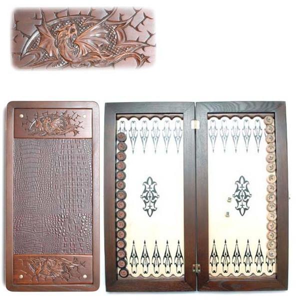"""Нарды средние деревянные резные со вставками из натуральной кожи комплектуются фишками Фантазия """"Дракон"""""""