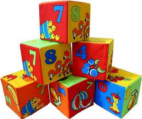 Мягкие кубики УМНАЯ ИГРУШКА Цифры, 6 кубиков (16628)