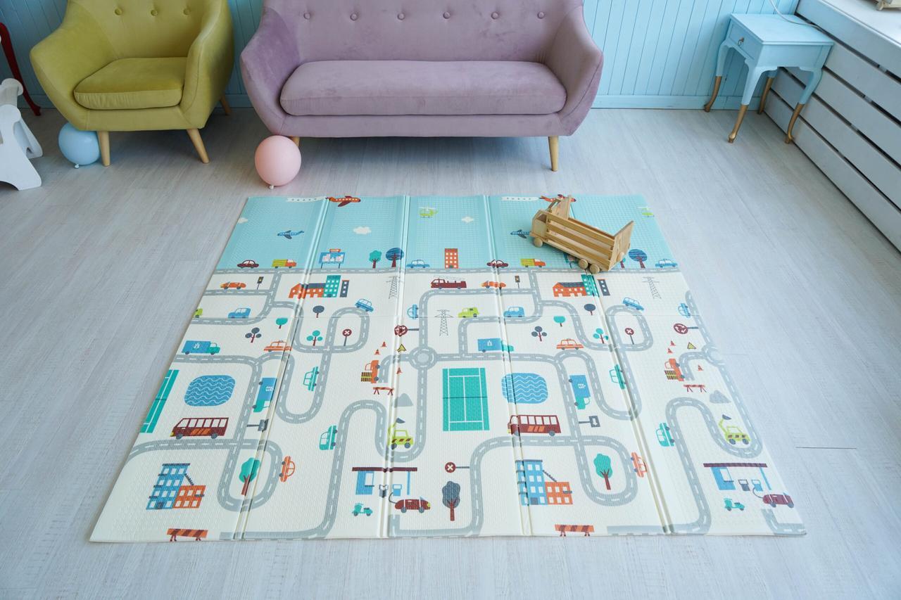 Дитячий килимок для повзання Children GO 180* 150 , двосторонній, з малюнками і текстурним покриттям
