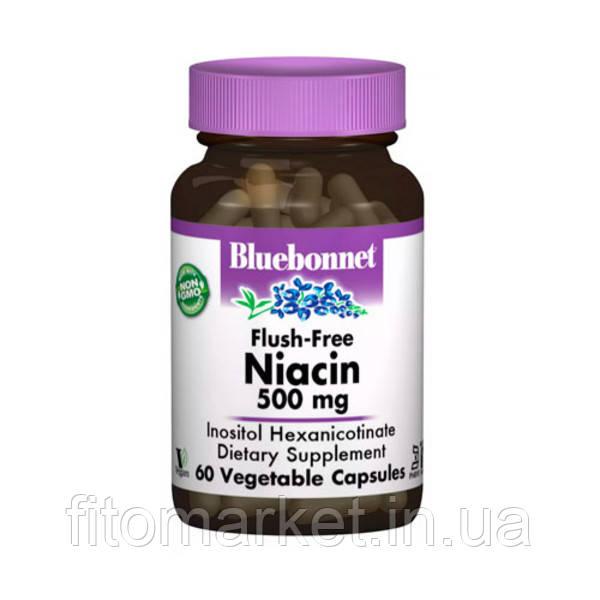 Ніацин без инфузата (В3) 500мг Bluebonnet Nutrition 60 гельових капсул