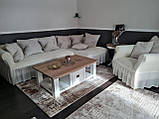 Натяжные чехлы на угловой диван и кресло турецкие с оборкой жатка Медовый Разные цвета, фото 2