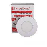 ElectroHouse LED панель кругла 4100К /Ø 85мм/Ø раб. 65 мм/3W/270Lm