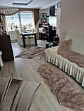 Чехол на угловой диван кресло натяжной турецкий с оборкой Коричневый жатка Разные цвета, фото 10