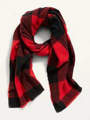 Широкий фланелевий червоний шарф в клітку Old Navy