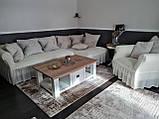 Еврочехол на угловой диван и кресло натяжные чехлы Много цветов с оборкой Зеленый жатка, фото 2