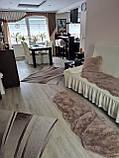 Еврочехол на угловой диван и кресло натяжные чехлы с оборкой Бежевый жатка Много цветов, фото 10