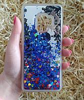 Чехол с сердечками и рисунком для Samsung Galaxy S9, Голубой