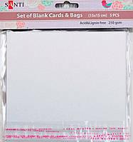 Заготовки для открыток 952250 15х15см белый перламутр Santi