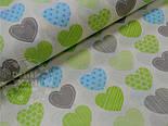 """Лоскут ткани №464а """"Сердечки с узорами"""", цвет салатовый с голубым, размер 71*47 см, фото 2"""