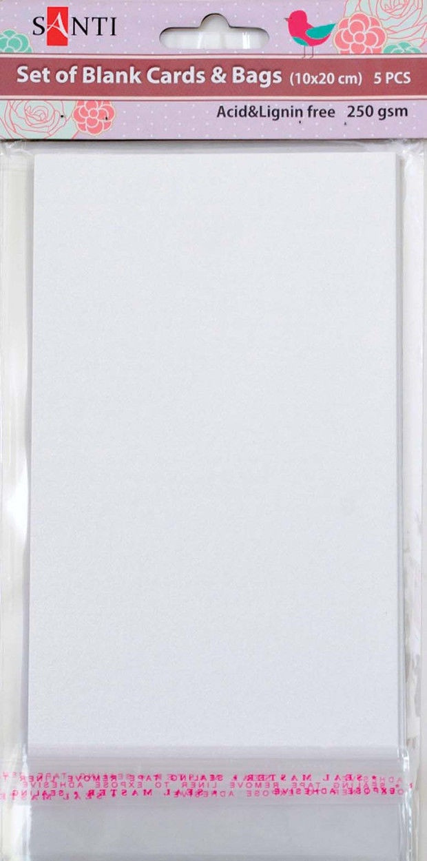 Заготовки для открыток 952260 10х20см белый перламутр Santi
