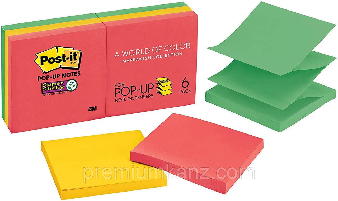Стикеры Post-it 3M  Z-образные, 76x76, 6 блоков  по 90 листов