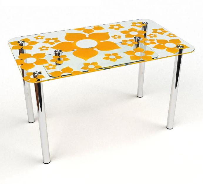 Стол кухонный стеклянный Цветение S-2, размер 91х61 *Эко (Бц-Стол ТМ)
